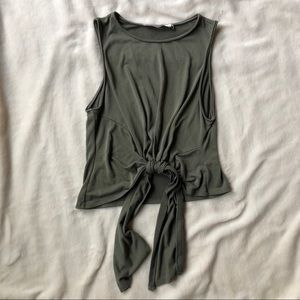 ASTR Olive Green Knotted Tank Top